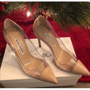 Size 38 clear/tan Manolos!